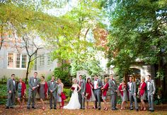 Love this bridal party! Rebekah Hoyt Photography - Wedding And Dressing Wedding Wraps, Red Wedding, Chic Wedding, Wedding Photos, Wedding Ideas, Wedding Reception, Wedding Stuff, Burgundy Bridesmaid Dresses, Wedding Bridesmaids