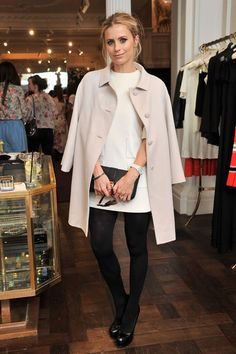 Laura Bailey arrived for the Temperley party in an soft pink coat and white dress.