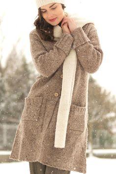 Carraig Donn Irish Aran Wool Sweater Womens Donegal Knit Long Buttoned Cardigan Sweater