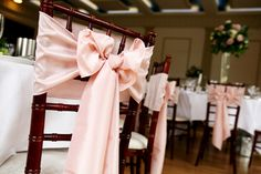 pink chairback sashes in ribbon Cute Wedding Ideas, Wedding Themes, Perfect Wedding, Wedding Styles, Wedding Decorations, Wedding Inspiration, Wedding Bows, Wedding Ceremony, Our Wedding