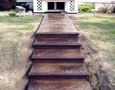 Concrete Steps And Concrete Stairs - Why To Use Concrete To Build . Concrete Patios, Concrete Front Steps, Cement Steps, Concrete Porch, Concrete Garden, Concrete Floors, Cement Patio, Concrete Molds, Concrete Crafts