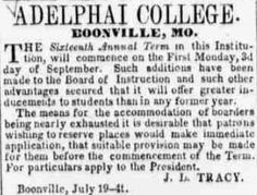 ad for Adelphai College, Boonville, MO from Glasgow (MO) Weekly Times, July 19, 1855