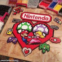 Love Nintendo perler bead art by  ig_retro4everything_