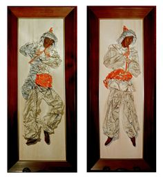 Wall Art Pair Music Theme Flute Players Faux by DownInTheBasement, $159.00