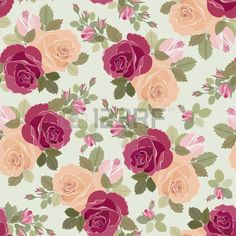 Vintage floral seamless pattern with roses