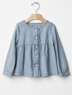 1969 ruffle chambray shirt Product Image