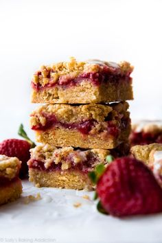Lemon strawberry crumb bars bring some blissful sunshine inside with a buttery crust and topping, fresh strawberries, and sweet lemon glaze!