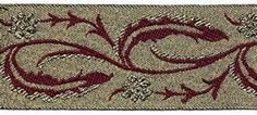 """1 1/4"""" Gold & Wine.  This stunning sewing trim comes in 3 colors."""