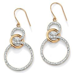 White Diamond Accent 14k Yellow Gold Diamond Fascination Eternity Drop Earrings -- Check this awesome product by going to the link at the image.