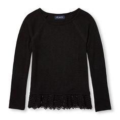 Girls Long Sleeve Lace Hem Sweater-Knit Top