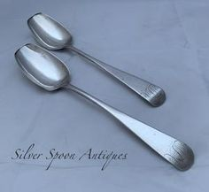Rare Pair of Bermuda Tablespoons, George HUTCHINGS, circa 1830s. – Silver Spoon Antiques Silver Spoons, Small Island, Makers Mark, Vintage Items, Pairs, Antiques, Antiquities, Antique, Old Stuff