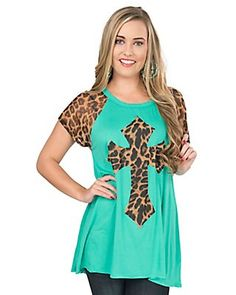 Ladies Mint with Leopard Print Cross and Leopard Cap Sleeves Casual Knit Top