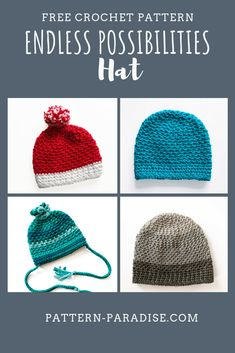 Endless Possibilities Hat - Free Crochet Pattern in newborn to adult sizes at Pattern Paradise Crochet Adult Hat, Crochet Beanie Pattern, All Free Crochet, Crochet Gloves, Crochet Round, Crochet Yarn, Easy Crochet, Crochet Stitches, Crochet Patterns