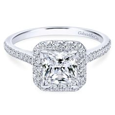 White Gold Cushion Shaped Halo Diamond Engagement Ring with Princess Center - June 15 2019 at Square Halo Engagement Rings, Princess Cut Rings, Dream Engagement Rings, Princess Cut Engagement Rings, Halo Diamond Engagement Ring, Princess Cut With Halo, Princess Cut Diamonds, Wedding Engagement, Wedding Rings For Women