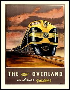 Australia Train Travel Poster Print by BloominLuvly on Etsy
