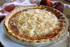 Custard Peach Pie with streusel topping- Christina's Cucina Best Peach Pie Recipe, Peach Pie Recipes, Sweet Recipes, Cake Recipes, Dessert Recipes, Delicious Fruit, Yummy Food, Peach Custard Pies, Sweet Tarts