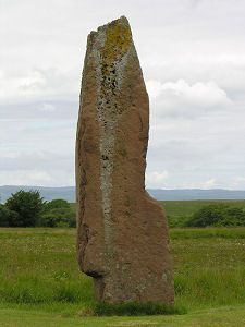 A Standing Stone in Machrie Moor. Stone Circle Number Isle of Arran, Scotland. Car park north of Blackwaterfoot on the