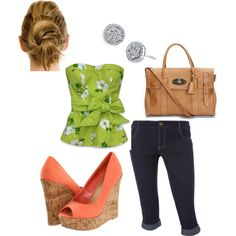 green floral, created by karina-hinson on Polyvore