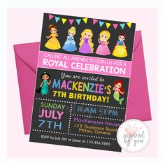 Princess Birthday Invitation - Digital File Only - Print Yourself Princess Birthday Invitations, All Friends, Personalized Invitations, You Are Invited, 7th Birthday, Rsvp, No Response, Aurora Sleeping Beauty, Messages