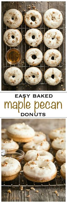 Easy maple and pecan flavored baked donuts. Perfect for weekend breakfast or just with your coffee - Foodness Gracious #breakfastdonuts #dessertdonuts #homemadedonuts