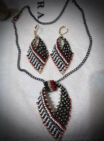 Münevver Özsoy KARTUNCA çalışması yaprak kolye ve küpeler Beaded Bracelet Patterns, Beading Patterns, Beaded Necklace, Beaded Bracelets, Pendant Necklace, Beading Tutorials, Loom Beading, Beads, Jewelry Ideas
