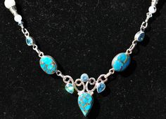 Beautiful and Simple Copper Turquoise & Blue Topaz Focal with Rainbow Moonstone and Apatite Necklace-Powerful Talisman by TimelessTalismans on Etsy