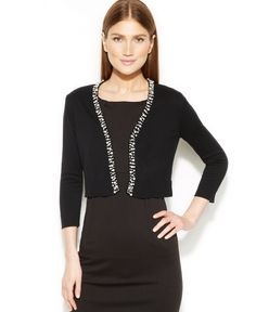 Calvin Klein Pearl-Trim Knit Shrug. I bought this at Macys. Looks nice with black dress