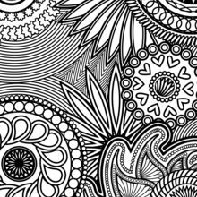 Paisley, Hearts and Flowers Anti-stress Coloring Design