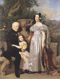 The Princely Esterházy Council Mathias Kerzmann with His Second Wife, the Former Countess Majlath, and His Daughter Maria by Ferdinand Georg Waldmüller, 1835, the Belvedere