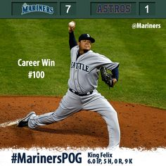 Felix dominant in 7-1 #Mariners win over the #Astros. Career win #100 for the King. 4/22/13