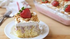 Classic poke cake gets a delightful upgrade with a creamy strawberry cheesecake filling.