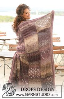 "DROPS 124-20 - Knitted DROPS blanket in ""Delight"" and ""Alpaca"" with squares in different textured patterns.  - Free pattern by DROPS Design"