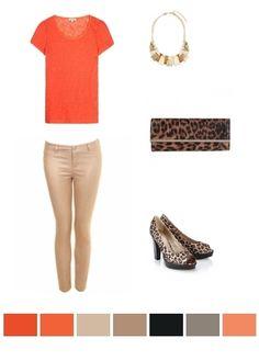orange and beige