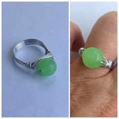 30% Off Bundles Faceted Green Glass Wrap Ring Green faceted glass wrapped in Sterling silver tarnish resistant wire. One-of-a-kind every wrap ring never comes out the same. Handmade by me. LMK what size and I will make you one. New! Cindylou's Design Jewelry Rings
