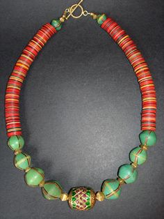 Antique African King Trade Beads Necklace