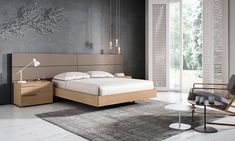 COMP 012 - Muebles Mesegué - Propuesta sutil y apacible de roble y tortora. Una opción equilibrada y atractiva para nuestro dormitorio. #MueblesMesegue #Dormitorio #DiseñoInterior #Cama