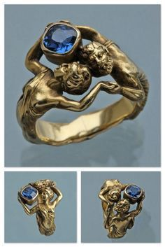 Art Nouveau Gold & Sapphire Ring by Henri-Ernest Dabault 1902 Skull Jewelry, Jewelry Art, Antique Jewelry, Gold Jewelry, Jewelery, Vintage Jewelry, Jewelry Accessories, Fine Jewelry, Jewelry Design