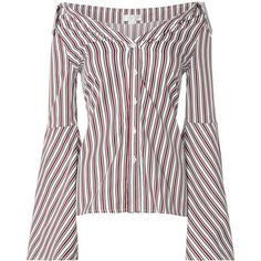 Caroline Constas Striped Persephone Blouse (39795 RSD) via Polyvore featuring tops, blouses, striped blouse, cotton blouse, stripe blouse, white top and white cotton tops