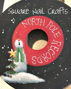 Hand painted by Square Nail Crafts. 45 record inspired by c Christmas Canvas, Christmas Paintings, Christmas Projects, Holiday Crafts, Holiday Fun, Fall Projects, Christmas Ideas, Christmas Signs, Christmas Snowman