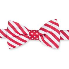 Saddlebred Red Self Tie Reversible Christmas Candy Cane Bowtie ($20) ❤ liked on Polyvore featuring men's fashion, men's accessories, men's neckwear, bow ties and red