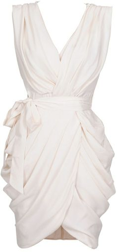 Monroe White Chiffon Wrap Dress-change into!