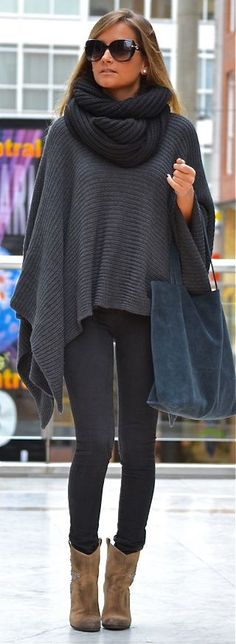 Gray Poncho Black Scarf