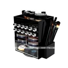 AILA Black Acrylic Organizer for Cosmetics Multifunctional Conceal Lipstick Eyeshadow Brushes Storage Box with Various Grids
