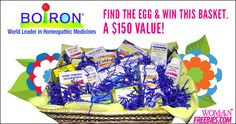 MORE EGGS TO FIND!  This time you could Win A $150 Gift Basket From Boiron!  Re-pin and click here to start searching http://womanfreebies.com/featured/win-a-boiron-gift-basket/?boiron