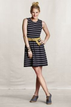 I have this and really like it. Just need a cute belt to go with it! Women's Sleeveless Striped Dress  from Lands' End Canvas