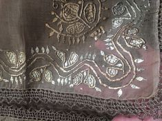 Antique Ottoman-Turkish Silver & Gold Metallic Hand Embroidered Square Cevre