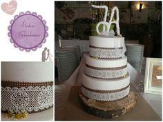 WEDDING CAKE                                                                                                                                                           Essbare Spitze aus magic decor. Sachertorte, Zitronencremetorte und Nusskuchen mit Nougat Mantel.   #wedding #lace #burlap #vintage #romantic #hochzeit #spitze