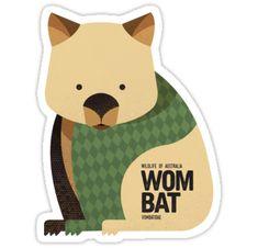 'Retro Wombat' Sticker by printedsparrow Australian Animals, Australian Art, Platypus, Wombat, Animal Nursery, Emu, Kangaroo, Applique, Wildlife