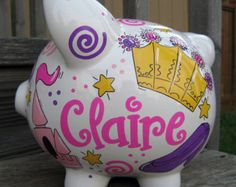Bright and Girlie Princess- Large, Personalized Piggy Bank