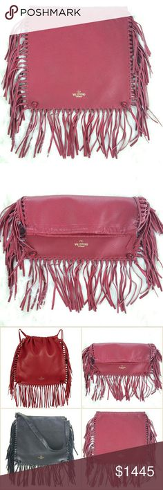 "VALENTINO C Rockee fringed backpack Versatile backpack.  As a fashion stylist, I could transform and wear this into many different style:  1. Backpack (as intended). 2. Clutch (fold into half). 3. Shoulder bag (add strap). 4. Crossbody (add long strap).  *Strap is NOT included*  Double back straps, 5"" drop. Open top; drawstring closure. Foiled logo lettering at bottom center. Open interior compartment. 14""H x 14.5""W x 1""D.  NWT w/ dustbag. Never worn.Can provide more pictures and info upon…"